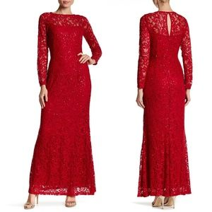 Marina Red Stretchy Long Sleeve Sequin Lace Gown